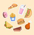 set of unhealthy junk food vector image