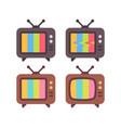 set old tv with error screens retro tv sets vector image vector image
