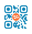 smartphone readable blue qr code with 5g icon vector image vector image