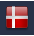 Square icon with flag of Denmark vector image vector image