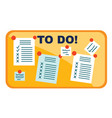 task cards attached to board using pins vector image vector image