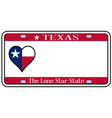 Texas state license plate vector image