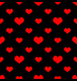 tile pattern with red hearts on black background vector image vector image