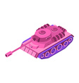 Toy Pink Tank Isometric on white background vector image vector image