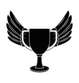 trophy cup with wings championship award vector image vector image