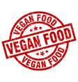 vegan food round red grunge stamp vector image vector image