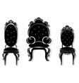 vintage black furniture set rich carved vector image vector image