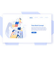 web banner template with group of tiny office vector image