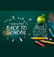 welcome back to school web banner apple pencils vector image vector image