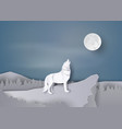 wolf howl on the cliff vector image vector image