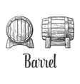 Wooden barrel set engraving vector image vector image