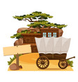 wooden sign and wertern scene in background vector image vector image