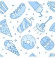 linear flat fast food icons seamless pattern vector image