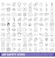 100 safety icons set outline style vector image vector image