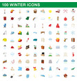 100 winter icons set cartoon style vector image vector image