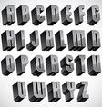 3d font geometric dimensional letters set vector image vector image