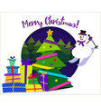 banner merry christmas paper ribbon on christmas vector image