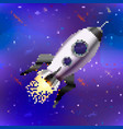 bright spaceship cute rocket in pixel art style vector image vector image