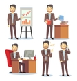 Businessman in various situations in office vector image vector image