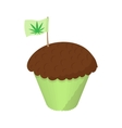 Cake with marijuana leaf icon cartoon style vector image vector image