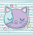 cat head pet animal with hearts vector image vector image