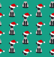 cat in santa hat pattern vector image