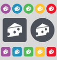 cheese icon sign A set of 12 colored buttons Flat vector image