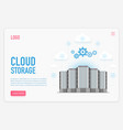 cloud storage landing page template cloud vector image