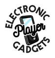 color vintage electronic gadgets emblem vector image