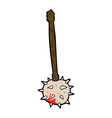 comic cartoon bloody medieval mace vector image vector image