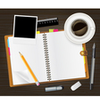 Diary on table vector image vector image