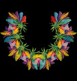 embroidery colorful floral neckline pattern vector image