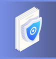 flat isometric file protection icon protect your vector image