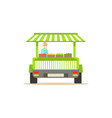 flat street fresh food cart with fresh food vector image vector image