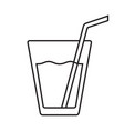glass of water flat isolated with straw vector image