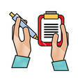 hands holding clipboard and pen supplies vector image vector image