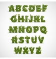 Handwritten ABC alphabet with leaf vector image