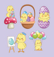 happy easter card with bachicks group vector image vector image