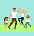 joyful family jumping vector image vector image