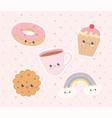 kawaii dessert donut cookie cupcake coffee cup vector image