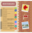 Montenegro infographics statistical data sights vector image vector image