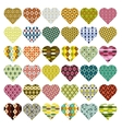patterned hearts vector image vector image