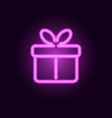pink neon gift box realistic neon sign vector image vector image
