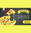 pizza banner horizontal isometric style vector image