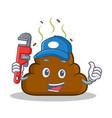 plumber poop emoticon character cartoon vector image vector image