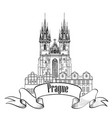 prague city sign famous landmark tyn cathedral vector image vector image