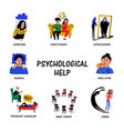 psychological help set of hand drawn icons on vector image vector image