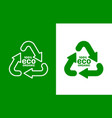 recycling sign triangular looped arrows green vector image vector image