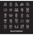 Relationship editable line icons set on