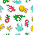 Retro 90s style hand sign patch seamless pattern vector image